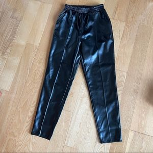 Missguided black leather straight leg pants size 4